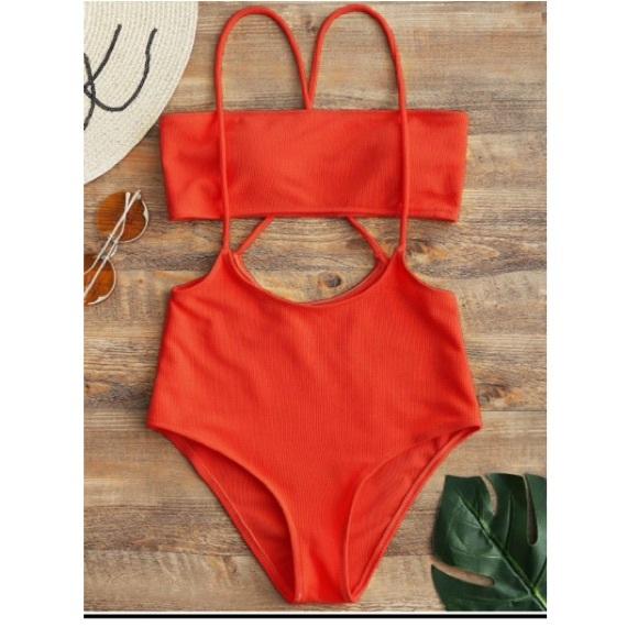 cd2c61ed2ab7b Zaful Swim | Bandeau Top And High Waisted Slip Bikini Bottoms L ...